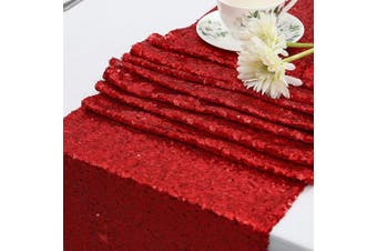 (36cm  X 270cm , Red) - Eternal Beauty Sequin Table Runners 36cm X 300cm Red Table Runner-Red Wedding Table Runner for Christmas Party Birthday Baby Shower