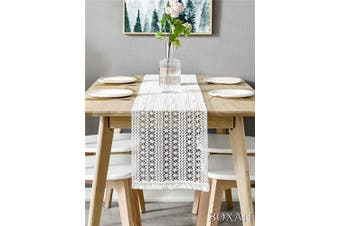 (30cm  x 270cm , White) - BOXAN 30cm x 270cm Macrame Table Runner with Tassels, Vintage Wedding Crochet Lace Fringe Table Runner Overlay for Rustic Wedding Bridal Shower Decoration, Boho Farmhouse Home Dining Table Linen Decor