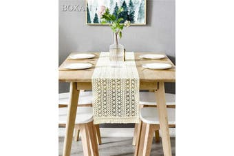 (30cm  x 270cm , Beige) - BOXAN 30cm x 270cm Macrame Table Runner with Tassels, Vintage Wedding Crochet Lace Fringe Table Runner Overlay for Rustic Wedding Bridal Shower Decoration, Boho Farmhouse Home Dining Table Linen Decor