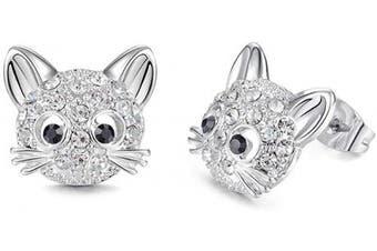 (Silver) - Cheerslife Cute Cat Stud Earrings Hypoallergenic Kitten Earrings for Women Teens Girls Cat Lovers Birthday Party Gift