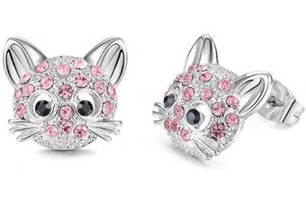 (Pink) - Cheerslife Cute Cat Stud Earrings Hypoallergenic Kitten Earrings for Women Teens Girls Cat Lovers Birthday Party Gift