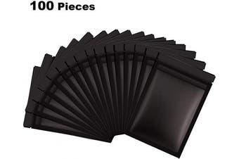 (Black, 13cm  x 18cm ) - 100 Pieces Resealable Smell Proof Bags Foil Pouch Bag Flat Ziplock Bag for Party Favour Food Storage (Black, 13cm x 18cm )