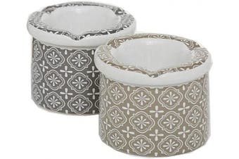 CasaJame Home Kitchen Furniture Organisation Accessories Tools Gadgets Barware Set of 2 Ceramic Moroccan Ash Trays with Cover Windproof Majolica Pattern H7cmØ9cm