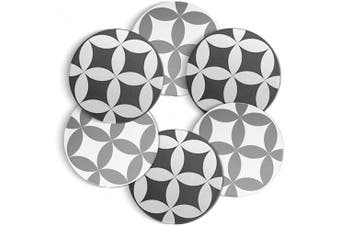 (Kaleidoscope Patterns) - ComSaf Coasters for Drinks Absorbent Ceramic Stone Coasters Set with Cork Base Diatomite Round Coasters for Housewarming Hostess Gift Kitchen Bar Décor, Set of 6 (10CM)