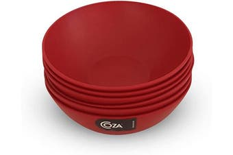 (Set of 6, Bold Red) - COZA DESIGN- Cosy Large Bowl Set- 500ml (Set of 6, Bold Red)