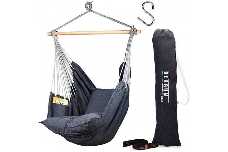 Bengum Hammock Chair Hanging Swing Indoor And Outdoor Use Large Swinging Seat Chair For Patio Bedroom Or Tree 2 Tone Grey Durable Hammock 2 Cushions Side Pocket Rope Carrying Bag S Matt Blatt