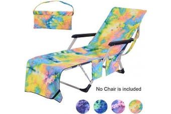 (Tie-dye Yellow) - Idubai Pool Chair Towel with Side Pockets,Microfiber Chaise Lounge Towel Cover for Sun Lounger Pool Sunbathing Garden Beach Hotel,Easy to Carry Around,No Sliding,Tie-Dye Yellow(210cm x 70cm )