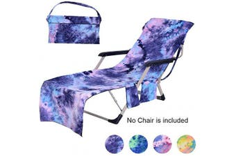(Tie-dye Blue) - Idubai Beach Chair Cover with Side Pockets,Microfiber Chaise Lounge Chair Towel Cover for Sun Lounger Pool Sunbathing Garden Beach Hotel,Easy to Carry Around,No Sliding,Tie-Dye Blue(210cm x 70cm )