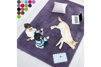 (0.6m x 0.9m, Purple Gray) - Purple Grey Soft Rug for Bedroom,0.6mX0.9m,Fluffy Area Rug for Living Room,Furry Carpet for Kids Room,Shaggy Door Mat for Entryway,Fuzzy Plush Rug,Purple Carpet,Rectangle,Cute Room Decor for Baby