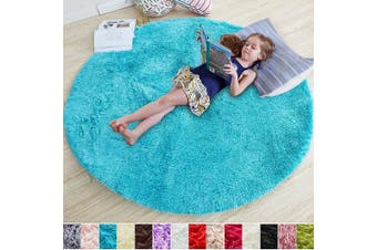 (1.2m x 1.2m, Blue) - Blue Round Rug for Bedroom,Fluffy Circle Rug 1.2mX1.2m for Kids Room,Furry Carpet for Teen's Room,Shaggy Throw Rug for Nursery Room,Fuzzy Plush Rug for Dorm,Turquoise Carpet,Cute Room Decor for Baby