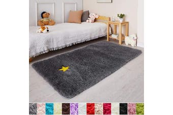 (0.9m x 1.5m, Gray) - Grey Soft Rug for Bedroom,0.9mX1.5m,Fluffy Area Rug for Living Room,Furry Carpet for Kids Room,Shaggy Throw Rug for Nursery Room,Fuzzy Plush Rug,Grey Carpet,Rectangle,Cute Room Decor for Baby