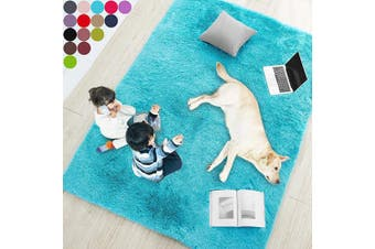 (1.2m x 1.8m, Blue) - Blue Soft Rug for Bedroom,1.2mX1.8m,Fluffy Area Rug for Living Room,Furry Carpet for Kids Room,Shaggy Throw Rug for Nursery Room,Fuzzy Plush Rug,Turquoise Carpet,Rectangle,Cute Room Decor for Baby