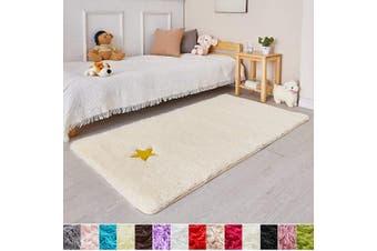 (0.9m x 1.5m, Cream) - Cream Soft Rug for Bedroom,0.9mX1.5m,Fluffy Area Rug for Living Room,Furry Carpet for Kids Room,Shaggy Throw Rug for Nursery Room,Fuzzy Plush Rug,Beige Carpet,Rectangle,Cute Room Decor for Baby
