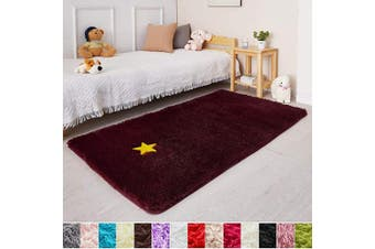 (0.9m x 1.5m, Wine Red) - Wine Red Rug for Bedroom,0.9mX1.5m,Fluffy Area Rug for Living Room,Furry Carpet for Kids Room,Shaggy Throw Rug for Nursery Room,Fuzzy Plush Rug,Burgundy Carpet,Rectangle,Cute Room Decor for Baby