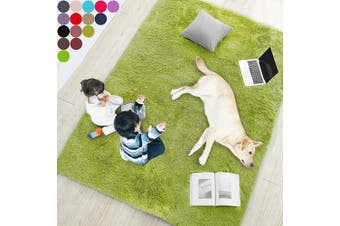 (0.6m x 0.9m, Grass Green) - Grass Green Soft Rug for Bedroom,0.6mX0.9m,Fluffy Area Rug for Living Room,Furry Carpet for Kids Room,Shaggy Door Mat for Entryway,Fuzzy Plush Rug,Green Carpet,Rectangle,Cute Room Decor for Baby
