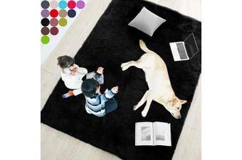 (0.6m x 0.9m, Black) - Black Soft Rug for Bedroom,0.6mX0.9m,Fluffy Area Rug for Living Room,Furry Carpet for Kids Room,Shaggy Door Mat for Entryway,Fuzzy Plush Rug,Black Carpet,Rectangle,Cute Room Decor for Baby