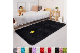 (0.9m x 1.5m, Black) - Black Soft Rug for Bedroom,0.9mX1.5m,Fluffy Area Rug for Living Room,Furry Carpet for Kids Room,Shaggy Throw Rug for Nursery Room,Fuzzy Plush Rug,Black Carpet,Rectangle,Cute Room Decor for Baby