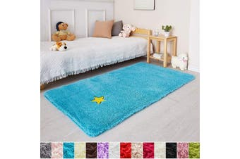 (0.9m x 1.5m, Blue) - Blue Soft Rug for Bedroom,0.9mX1.5m,Fluffy Area Rug for Living Room,Furry Carpet for Kids Room,Shaggy Throw Rug for Nursery Room,Fuzzy Plush Rug,Turquoise Carpet,Rectangle,Cute Room Decor for Baby