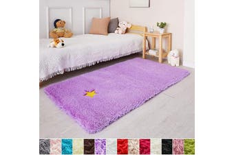 (0.9m x 1.5m, Purple) - Purple Soft Rug for Bedroom,0.9mX1.5m,Fluffy Area Rug for Living Room,Furry Carpet for Kids Room,Shaggy Throw Rug for Nursery Room,Fuzzy Plush Rug,Purple Carpet,Rectangle,Cute Room Decor for Baby
