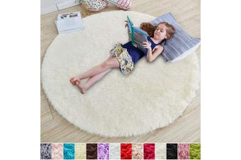 (1.2m x 1.2m, Ivory) - Ivory Round Rug for Bedroom,Fluffy Circle Rug 1.2mX1.2m for Kids Room,Furry Carpet for Teen's Room,Shaggy Throw Rug for Nursery Room,Fuzzy Plush Rug for Dorm,White Carpet,Cute Room Decor for Baby