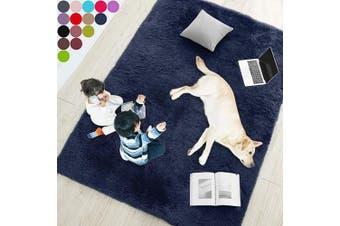 (1.5m x 2.1m, Navy Blue) - Navy Blue Soft Rug for Bedroom,1.5mX2.1m,Fluffy Area Rug for Living Room,Furry Carpet for Kids Room,Shaggy Throw Rug for Nursery Room,Fuzzy Plush Rug,Indigo Carpet,Rectangle,Cute Room Decor for Baby