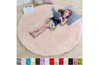 (1.2m x 1.2m, Pink) - Pink Round Rug for Bedroom,Fluffy Circle Rug 1.2mX1.2m for Kids Room,Furry Carpet for Teen Girls Room,Shaggy Throw Rug for Nursery Room,Fuzzy Plush Rug for Dorm,Pink Carpet,Cute Room Decor for Baby