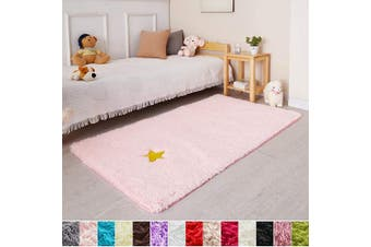 (0.9m x 1.5m, Pink) - Pink Soft Rug for Girls Bedroom,Fluffy Area Rug 0.9mX1.5m for Living Room,Furry Carpet for Kids Room,Shaggy Throw Rug for Nursery Room,Fuzzy Plush Rug for Dorm,Pink Carpet,Rectangle,Cute Room Decor Baby