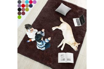 (1.5m x 2.1m, Brown) - Brown Soft Rug for Bedroom,1.5mX2.1m,Fluffy Area Rug for Living Room,Furry Carpet for Kids Room,Shaggy Throw Rug for Nursery Room,Fuzzy Plush Rug,Brown Carpet,Rectangle,Cute Room Decor for Baby