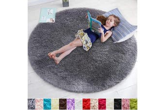 (1.5m x 1.5m, Gray) - Grey Round Rug for Bedroom,Fluffy Circle Rug 1.5mX1.5m for Kids Room,Furry Carpet for Teen's Room,Shaggy Throw Rug for Nursery Room,Fuzzy Plush Rug for Dorm,Grey Carpet,Cute Room Decor for Baby