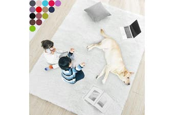 (0.6m x 0.9m, White) - White Soft Rug for Bedroom,0.6mX0.9m,Fluffy Area Rug for Living Room,Furry Carpet for Kids Room,Shaggy Door Mat for Entryway,Fuzzy Plush Rug,White Carpet,Rectangle,Cute Room Decor for Baby
