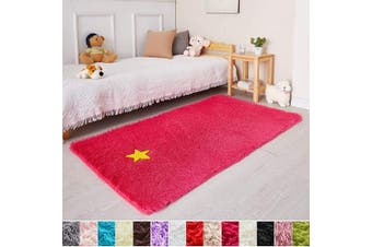 (0.9m x 1.5m, Hot Pink) - Hot Pink Soft Rug for Girls Bedroom,Fluffy Area Rug 0.9mX1.5m for Living Room,Furry Carpet for Kids Room,Shaggy Throw Rug for Nursery Room,Fuzzy Plush Rug for Dorm,Pink Carpet,Cute Room Decor for Baby