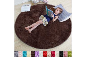 1 2m X 1 2m Brown Brown Round Rug For Bedroom Fluffy Circle Rug 1 2mx1 2m