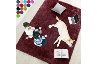 (1.2m x 1.8m, Wine Red) - Wine Red Rug for Bedroom,1.2mX1.8m,Fluffy Area Rug for Living Room,Furry Carpet for Kids Room,Shaggy Throw Rug for Nursery Room,Fuzzy Plush Rug,Burgundy Carpet,Rectangle,Cute Room Decor for Baby