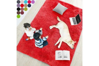 (1.5m x 2.1m, Red) - Red Rug for Bedroom,1.5mX2.1m,Fluffy Area Rug for Living Room,Furry Carpet for Kids Room,Shaggy Throw Rug for Nursery Room,Fuzzy Plush Rug,Scarlet Carpet,Rectangle,Cute Room Decor for Baby