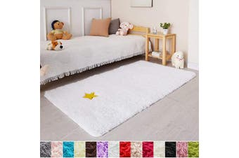(0.9m x 1.5m, White) - White Soft Rug for Bedroom,0.9mX1.5m,Fluffy Area Rug for Living Room,Furry Carpet for Kids Room,Shaggy Throw Rug for Nursery Room,Fuzzy Plush Rug,White Carpet,Rectangle,Cute Room Decor for Baby