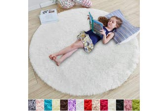 (1.2m x 1.2m, White) - White Round Rug for Bedroom,Fluffy Circle Rug 1.2mX1.2m for Kids Room,Furry Carpet for Teen's Room,Shaggy Throw Rug for Nursery Room,Fuzzy Plush Rug for Dorm,White Carpet,Cute Room Decor for Baby