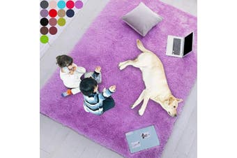 (0.6m x 0.9m, Purple) - Purple Soft Rug for Bedroom,0.6mX0.9m,Fluffy Area Rug for Living Room,Furry Carpet for Kids Room,Shaggy Door Mat for Entryway,Fuzzy Plush Rug,Purple Carpet,Rectangle,Cute Room Decor for Baby