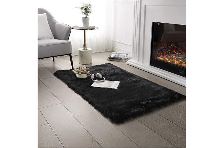 0 6m X 1 2m Rectangle Black Ultra Soft Faux Fur Area Rug Black Fluffy Rug Plush