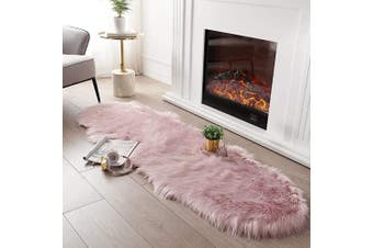 (0.6m x 1.8m Sheepskin, Pink) - Ultra Soft Fluffy Rug Pink Faux Sheepskin Fur Area Rug Shaggy Couch Cover Seat Cushion Furry Carpet Beside Rugs for Bedroom Floor Sofa Living Room Runner, 0.6m x 1.8m SERISSA (Pink)