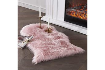 (0.6m x 0.9m Sheepskin, Pink) - Ultra Soft Faux Sheepskin Fur Area Rug Pink Chair Cover Seat Pad Fuzzy Area Rug for Bedroom Floor Sofa Living Room 0.6m x 0.9m SERISSA (Pink)