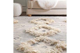 (0.6m x 3m, Light Grey) - nuLOOM Moroccan Shag Fringe Wool Runner Rug, 0.6m x 3m, Light Grey