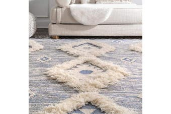 (0.6m x 1.8m, Blue) - nuLOOM Moroccan Shag Fringe Wool Runner Rug, 0.6m x 1.8m, Blue