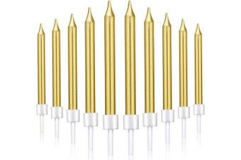 (Short, Gold) - 50 Pieces Birthday Cake Candles Thin Cake Cupcake Candles in Holders for Birthday Wedding Party Cake Decorations Supplies (Gold, Short)