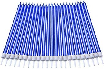 (Long, Blue) - 50 Pieces Birthday Cake Candles Thin Cake Cupcake Candles in Holders for Birthday Wedding Party Cake Decorations Supplies (Blue, Long)