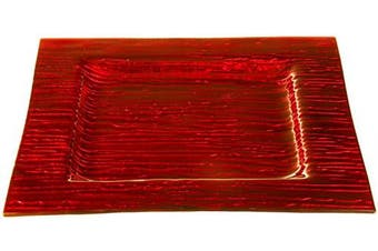(Metallic Red) - Couronne Company 2066M76 Monterrey Square Recycled Glass Plate, 30cm , Metalllic Red, 1 Piece