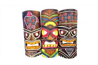 Set of (3) Vibrant Painted Surf Style Wooden Handcarved 30cm Tall Tiki Masks Tropical Wall Decor!