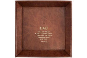 (Dad -Ephesians 1:16) - CB Gift Heartfelt Collection Just for Him Leather-Like Tabletop Tray, 22cm x 22cm , Dad -Ephesians 1:16