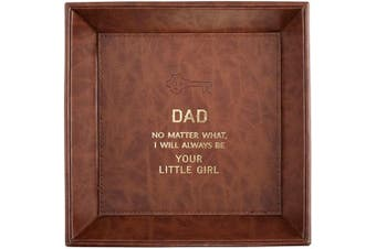 (Dad Little Girl) - CB Gift Heartfelt Collection Just for Him Leather-Like Tabletop Tray, 22cm x 22cm , Dad Little Girl