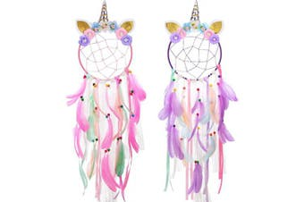 Blulu 2 Pieces Unicorn Dream Catcher for Girls Colourful Dream Catcher Circle Pink Feather Flowers Dream Catcher for Kids Bedroom Wall Hanging Decoration