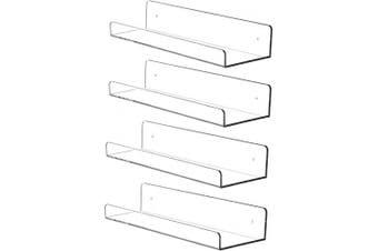 "(38cm  x 11cm X3""-4PCS) - Cq acrylic 15"" Invisible Acrylic Floating Wall Ledge Shelf, Wall Mounted Nursery Kids Bookshelf, Invisible Spice Rack, Clear 5MM Thick Bathroom Storage Shelves Display Organiser, 15"" L,Set of 4"